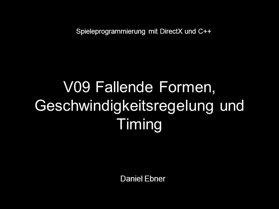 class ultris { private: … int speed; // aktuelle Geschwindigkeit gespeichert DWORD time // Zeitpunkt der letzten Aktualisierung int onestep(); // Bewegt Form einen Pixel nach unten int blockiert(); // Prüft ob unter der Form noch Platz ist … public: … int step(); // Bringt Spiel zum laufen void down(); // Durch Drücken der Leertaste wird Die Form fallen gelassen void reset_timer(); { time = timeGetTime(); } // aktuelle Zeit (Systemzeit in ms) void schneller(); {speed += 50;} // Geschwindigkeit erhöht void langsamer(); { if (speed > 50) speed -= 50;} // Geschwindigkeit verlangsamt … }