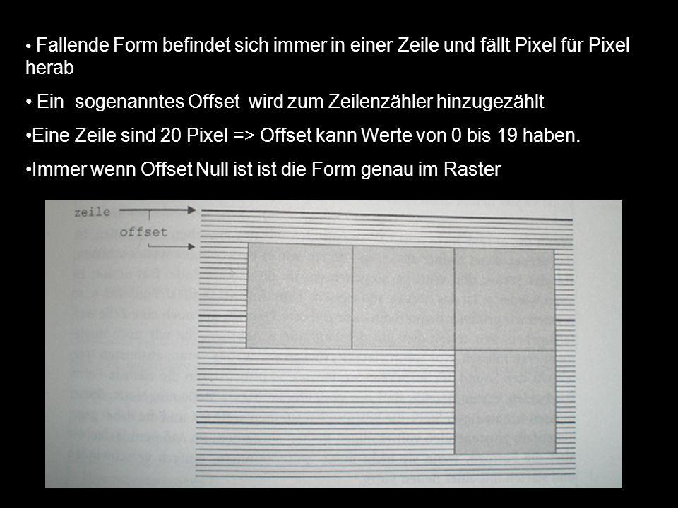 int ultris::onestep() { if (offset) //Wenn das Offset nicht Null ist befinden wir uns zwischen zwei Zeilen { if (offset < 19) offset++;// Offset kann erhöht werden else {offset = 0; zeile++;} // Form kommt in die nächste Zeile return 1;// hat geklappt } else // Form ist genau in einer Zeile { if (blockiert()) // ist unterhalb der Form noch Platz.