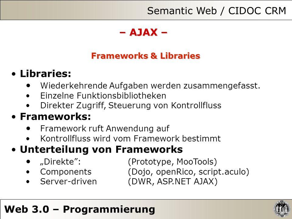 Semantic Web / CIDOC CRM Web 3.0 – Programmierung – AJAX – Frameworks & Libraries Libraries: Wiederkehrende Aufgaben werden zusammengefasst. Einzelne