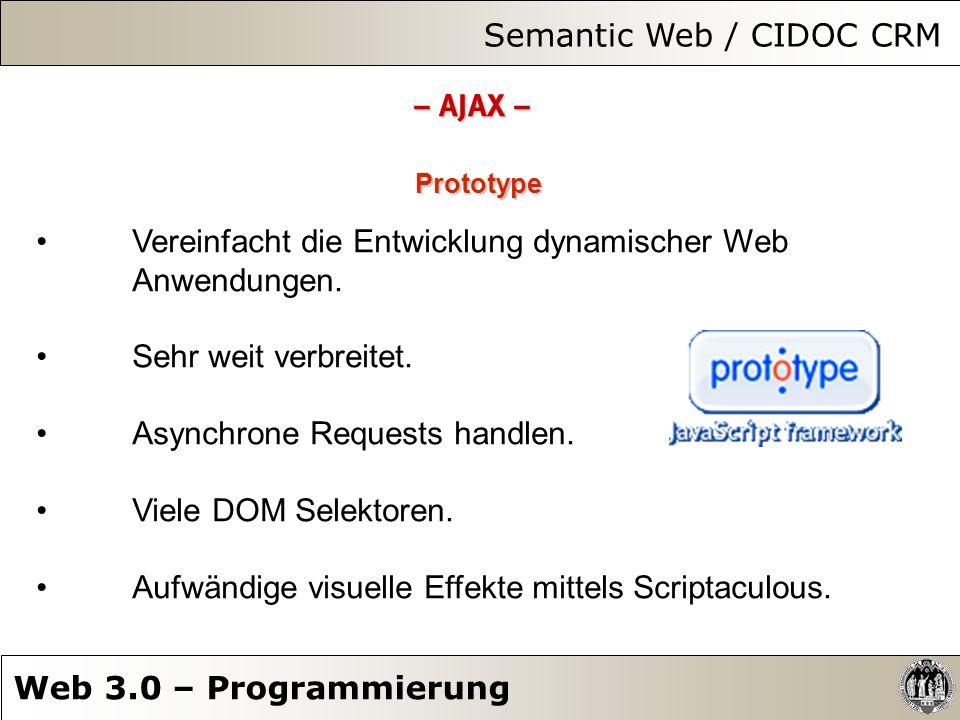 Semantic Web / CIDOC CRM Web 3.0 – Programmierung – AJAX – Prototype Vereinfacht die Entwicklung dynamischer Web Anwendungen. Sehr weit verbreitet. As