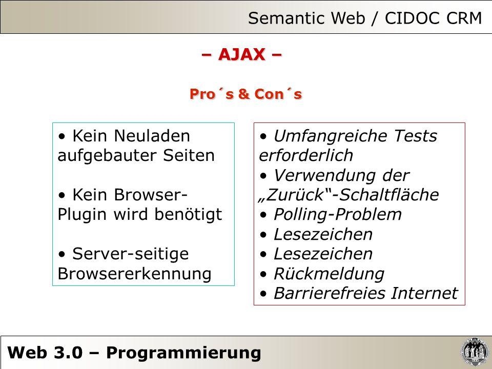 Semantic Web / CIDOC CRM Web 3.0 – Programmierung – AJAX – Pro´s & Con´s Kein Neuladen aufgebauter Seiten Kein Browser- Plugin wird benötigt Server-se