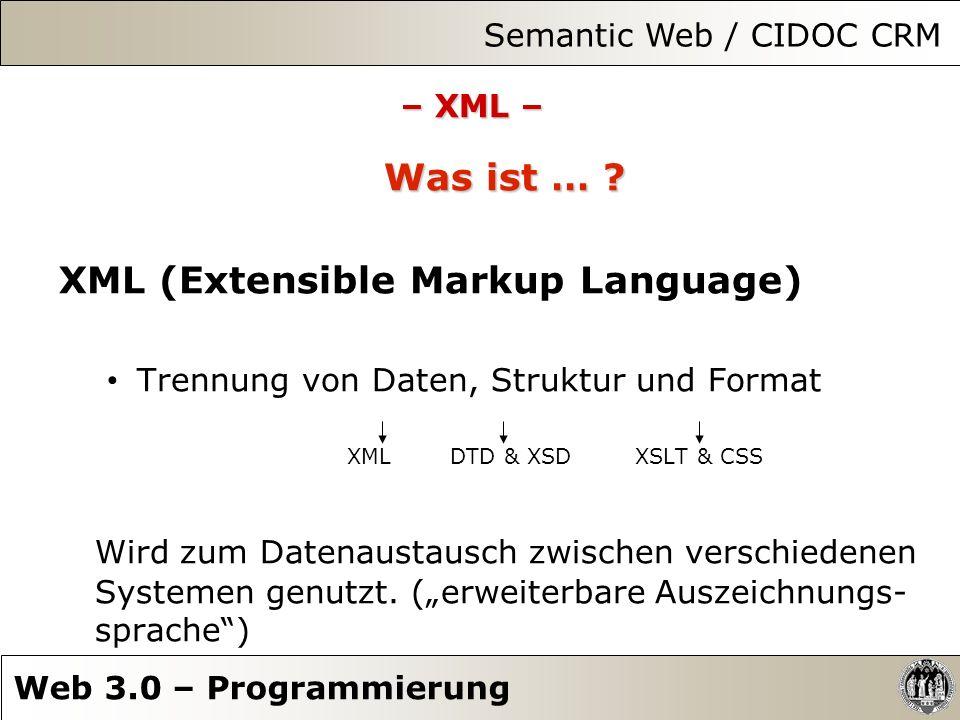 – XML – Was ist … ? XML (Extensible Markup Language) Trennung von Daten, Struktur und Format XML DTD & XSD XSLT & CSS Wird zum Datenaustausch zwischen