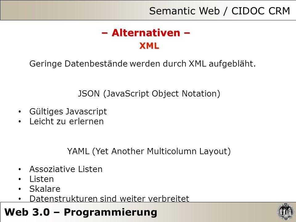 Semantic Web / CIDOC CRM Web 3.0 – Programmierung – Alternativen – XML Geringe Datenbestände werden durch XML aufgebläht. JSON (JavaScript Object Nota