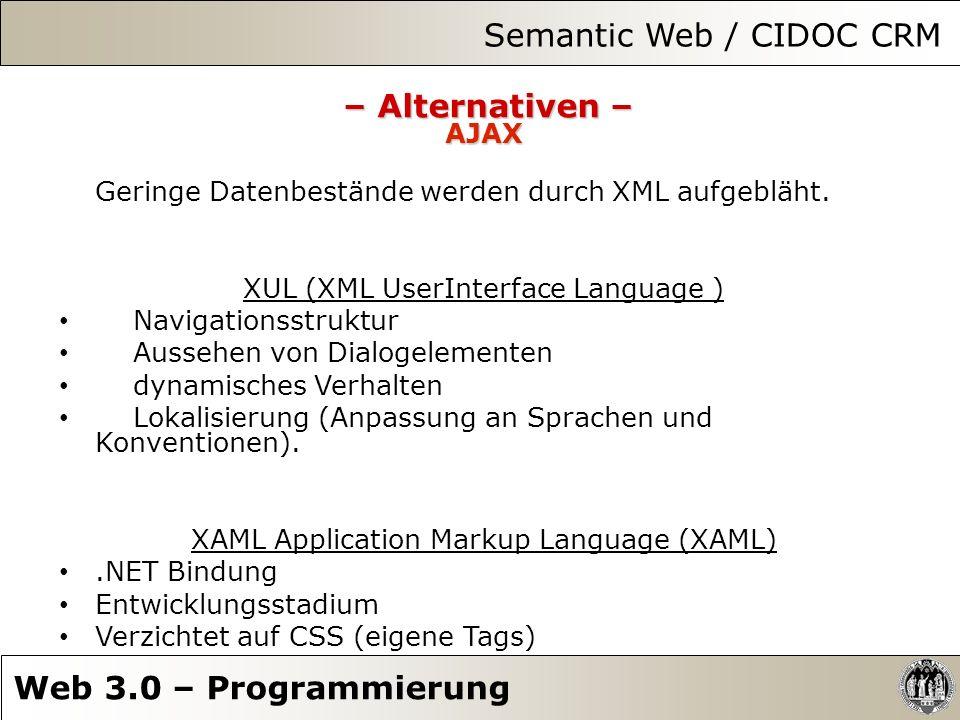 Semantic Web / CIDOC CRM Web 3.0 – Programmierung – Alternativen – AJAX Geringe Datenbestände werden durch XML aufgebläht. XUL (XML UserInterface Lang