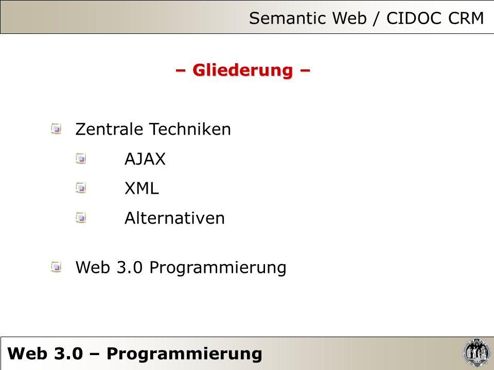 Zentrale Techniken – XML – Semantic Web / CIDOC CRM Web 3.0 – Programmierung