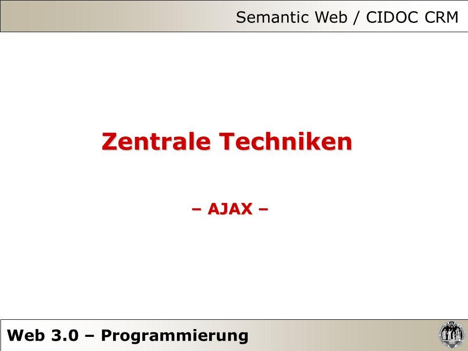 Zentrale Techniken – AJAX – Semantic Web / CIDOC CRM Web 3.0 – Programmierung