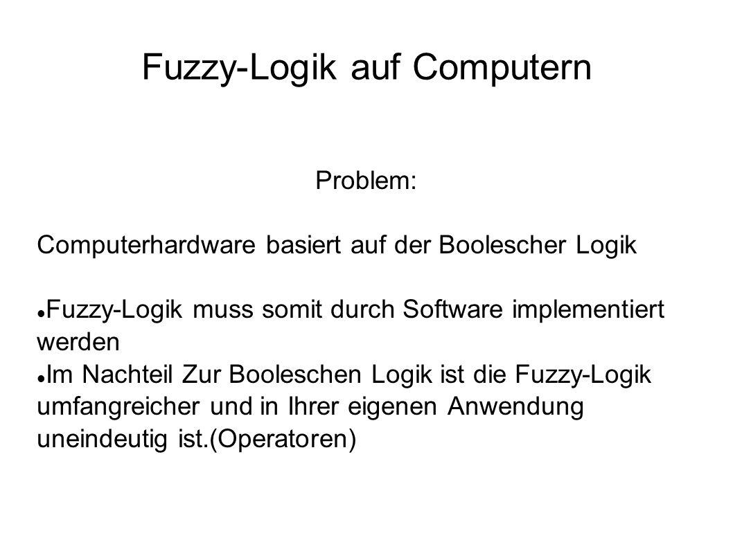 Fuzzy-Logik auf Computern Problem: Computerhardware basiert auf der Boolescher Logik Fuzzy-Logik muss somit durch Software implementiert werden Im Nac