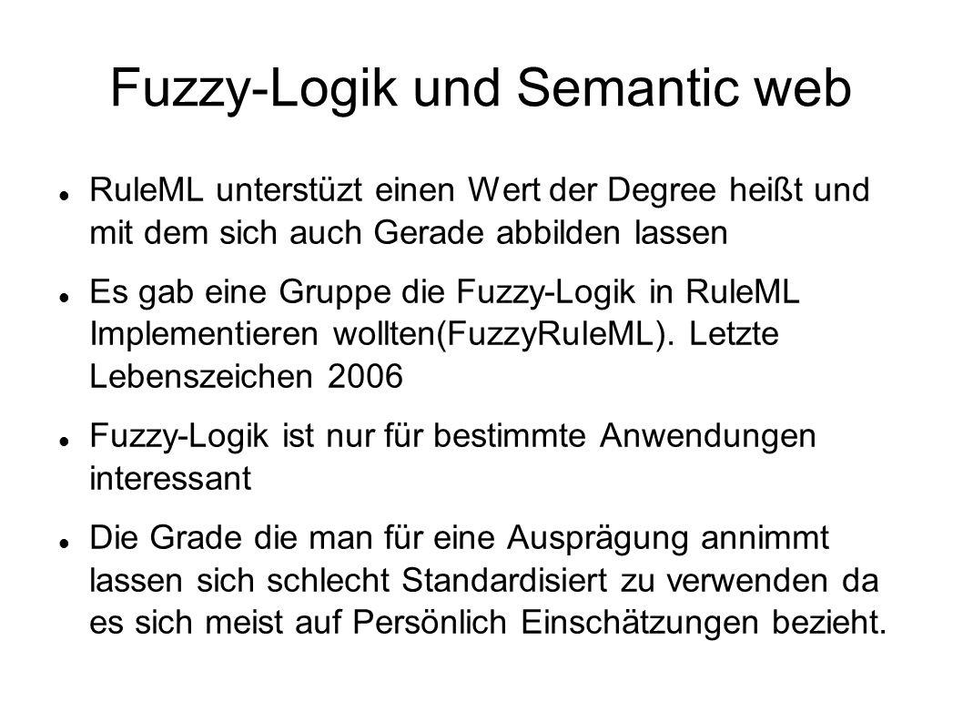 Fuzzy-Logik und Semantic web RuleML unterstüzt einen Wert der Degree heißt und mit dem sich auch Gerade abbilden lassen Es gab eine Gruppe die Fuzzy-L