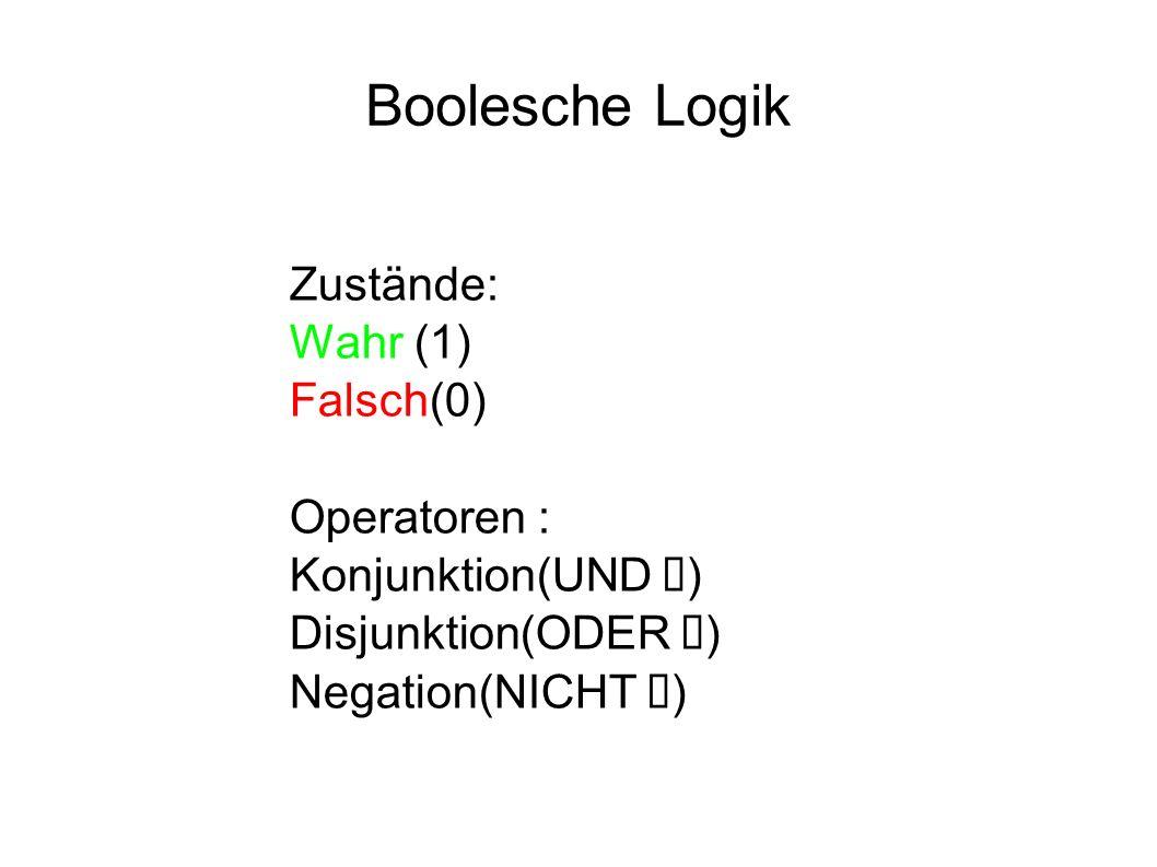 Boolesche Logik Zustände: Wahr (1) Falsch(0) Operatoren : Konjunktion(UND ) Disjunktion(ODER ) Negation(NICHT )