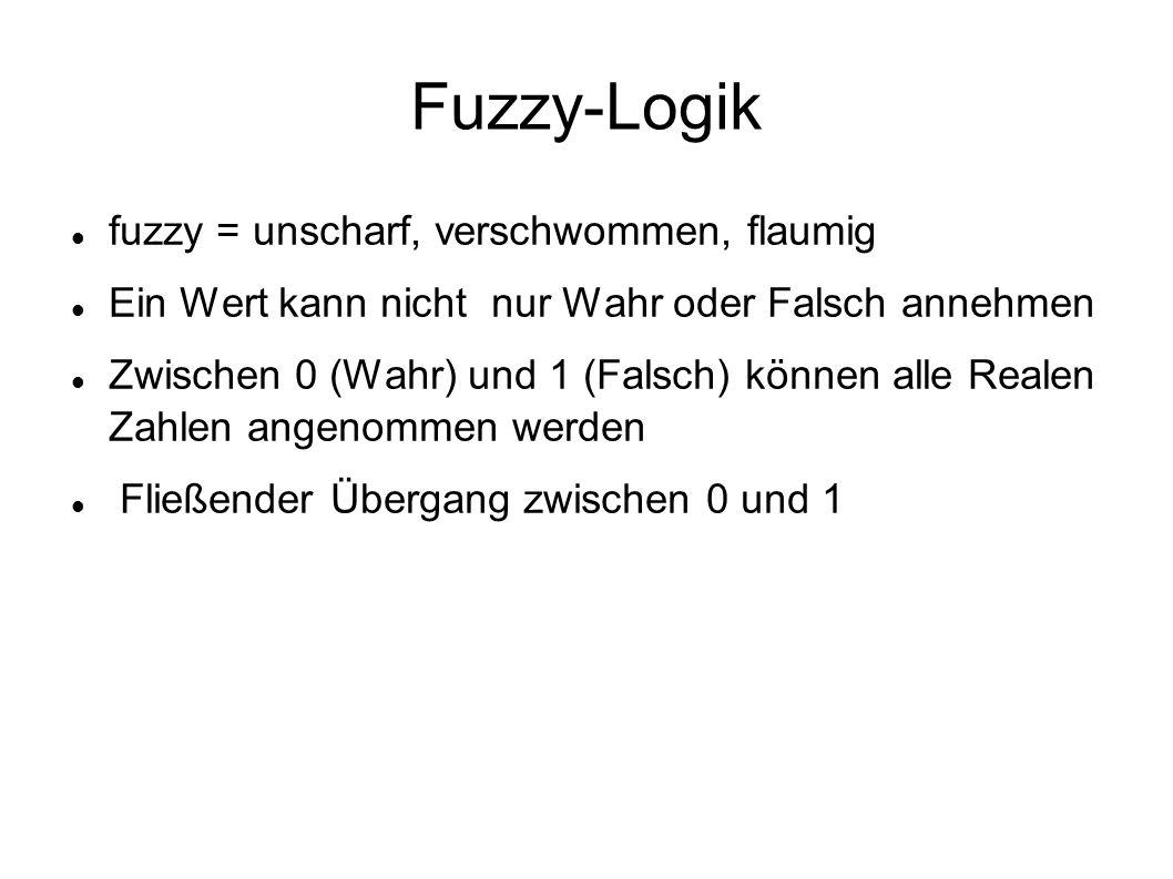 Fuzzy-Logik fuzzy = unscharf, verschwommen, flaumig Ein Wert kann nicht nur Wahr oder Falsch annehmen Zwischen 0 (Wahr) und 1 (Falsch) können alle Rea