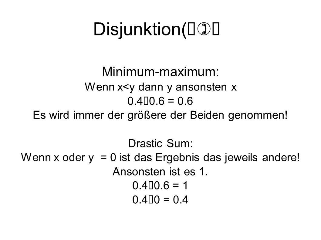 Disjunktion( ) Minimum-maximum: Wenn x<y dann y ansonsten x 0.4 0.6 = 0.6 Es wird immer der größere der Beiden genommen! Drastic Sum: Wenn x oder y =