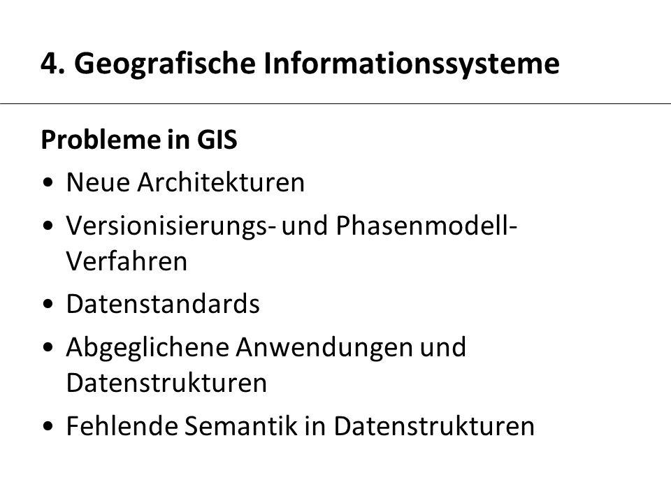 4. Geografische Informationssysteme Probleme in GIS Neue Architekturen Versionisierungs- und Phasenmodell- Verfahren Datenstandards Abgeglichene Anwen