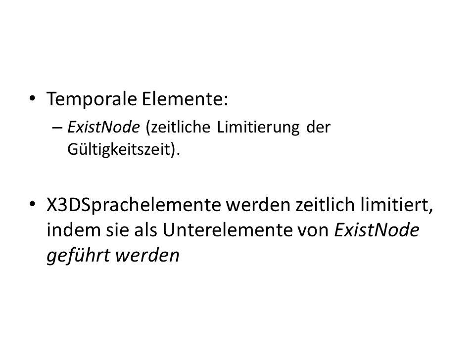 Temporale Elemente: – ExistNode (zeitliche Limitierung der Gültigkeitszeit).