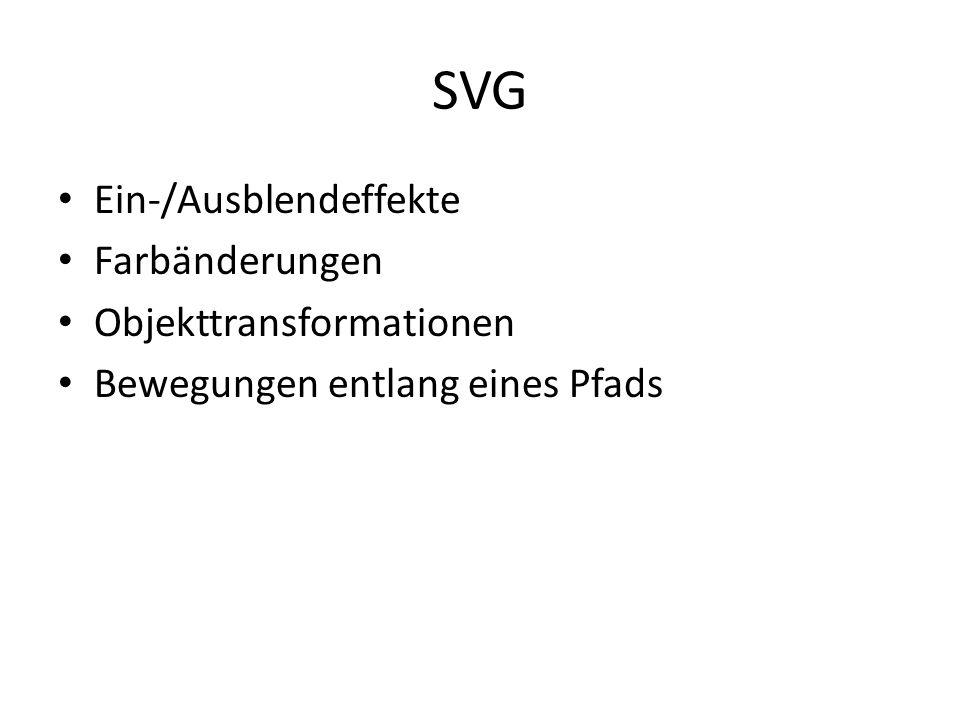 SVG Ein-/Ausblendeffekte Farbänderungen Objekttransformationen Bewegungen entlang eines Pfads