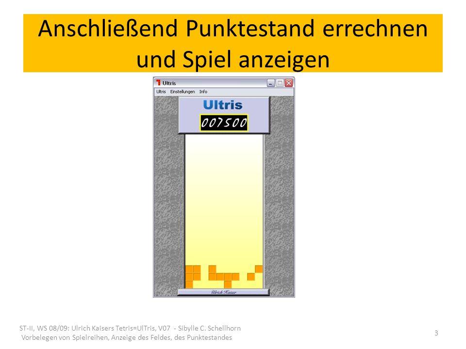 Anschließend Punktestand errechnen und Spiel anzeigen ST-II, WS 08/09: Ulrich Kaisers Tetris=UlTris, V07 - Sibylle C. Schellhorn Vorbelegen von Spielr