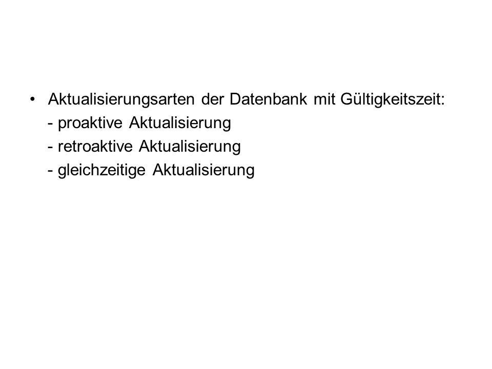 Aktualisierungsarten der Datenbank mit Gültigkeitszeit: - proaktive Aktualisierung - retroaktive Aktualisierung - gleichzeitige Aktualisierung