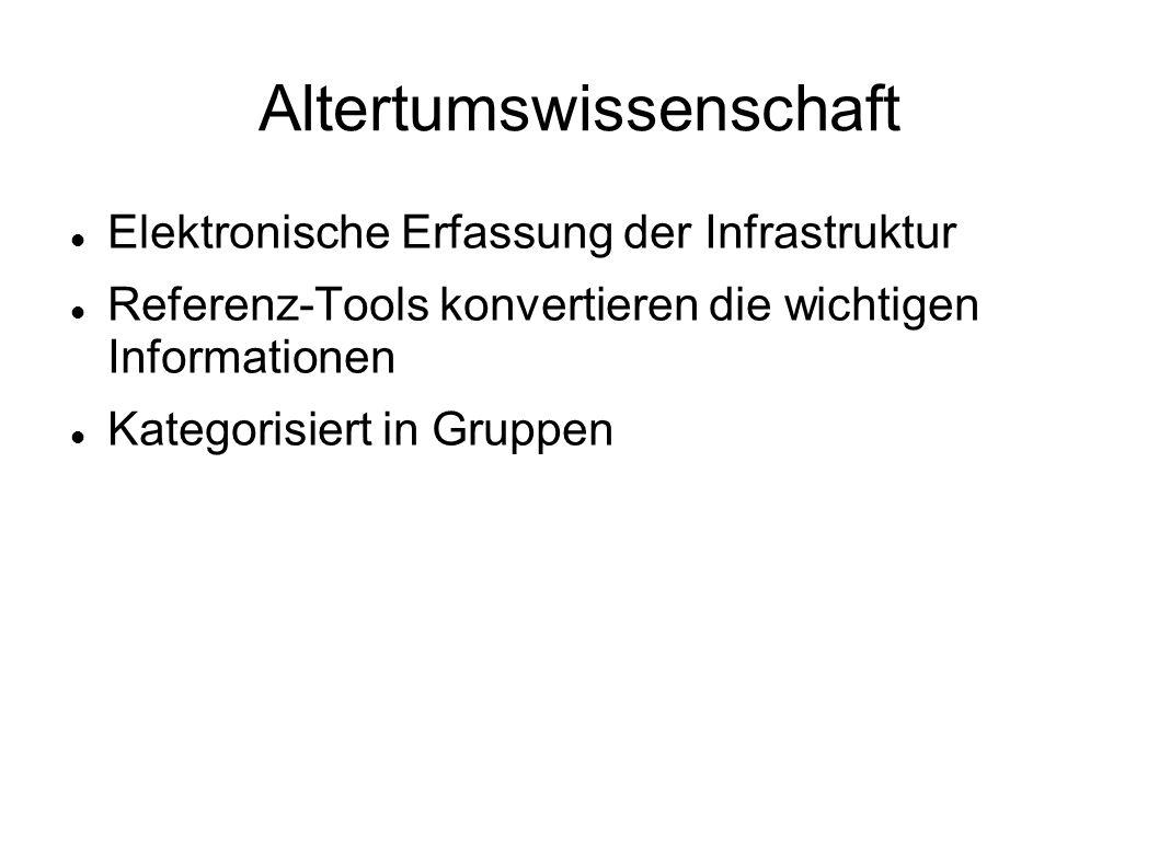 Altertumswissenschaft Elektronische Erfassung der Infrastruktur Referenz-Tools konvertieren die wichtigen Informationen Kategorisiert in Gruppen