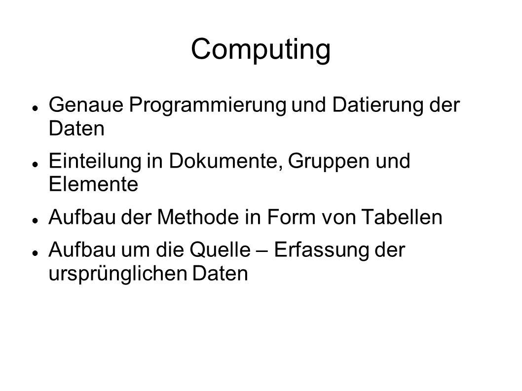 Computing Genaue Programmierung und Datierung der Daten Einteilung in Dokumente, Gruppen und Elemente Aufbau der Methode in Form von Tabellen Aufbau um die Quelle – Erfassung der ursprünglichen Daten