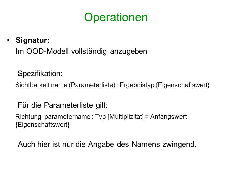 Operationen Signatur: Im OOD-Modell vollständig anzugeben Spezifikation: Sichtbarkeit name (Parameterliste) : Ergebnistyp {Eigenschaftswert} Für die P