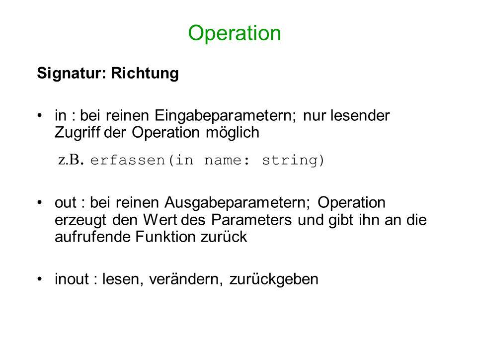 Operation Signatur: Richtung in : bei reinen Eingabeparametern; nur lesender Zugriff der Operation möglich z.B. erfassen(in name: string) out : bei re