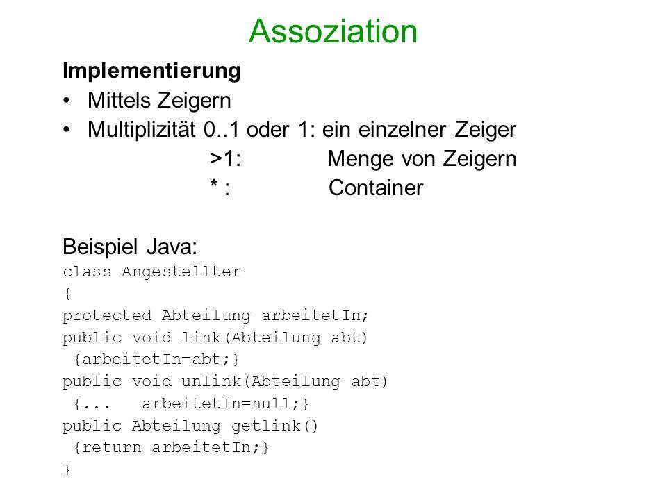 Assoziation Implementierung Mittels Zeigern Multiplizität 0..1 oder 1: ein einzelner Zeiger >1: Menge von Zeigern * : Container Beispiel Java: class A
