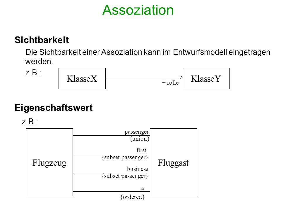 Assoziation Sichtbarkeit Die Sichtbarkeit einer Assoziation kann im Entwurfsmodell eingetragen werden. z.B.: Eigenschaftswert z.B.: KlasseX Fluggast +