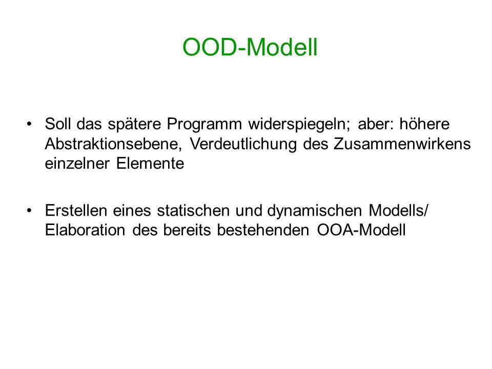 OOD-Modell Soll das spätere Programm widerspiegeln; aber: höhere Abstraktionsebene, Verdeutlichung des Zusammenwirkens einzelner Elemente Erstellen ei