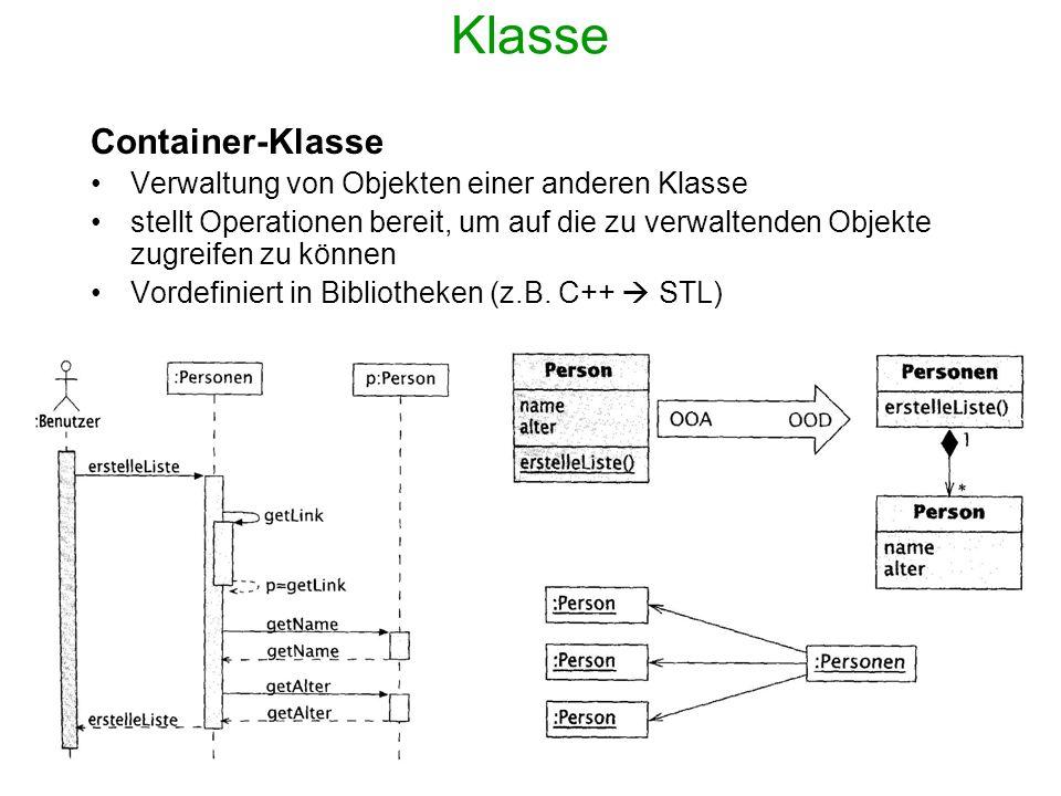 Assoziation Implementierung Mittels Zeigern Multiplizität 0..1 oder 1: ein einzelner Zeiger >1: Menge von Zeigern * : Container Beispiel Java: class Angestellter { protected Abteilung arbeitetIn; public void link(Abteilung abt) {arbeitetIn=abt;} public void unlink(Abteilung abt) {...
