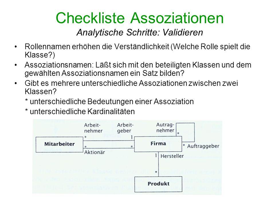 Checkliste Assoziationen Analytische Schritte: Validieren Rollennamen erhöhen die Verständlichkeit (Welche Rolle spielt die Klasse?) Assoziationsnamen