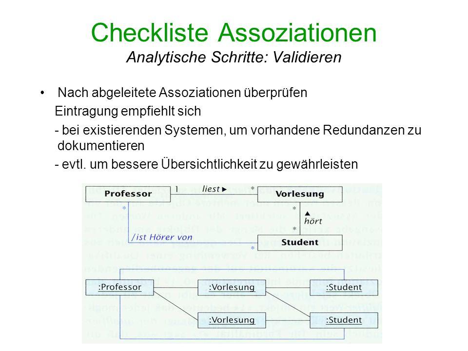 Checkliste Assoziationen Analytische Schritte: Validieren Nach abgeleitete Assoziationen überprüfen Eintragung empfiehlt sich - bei existierenden Syst