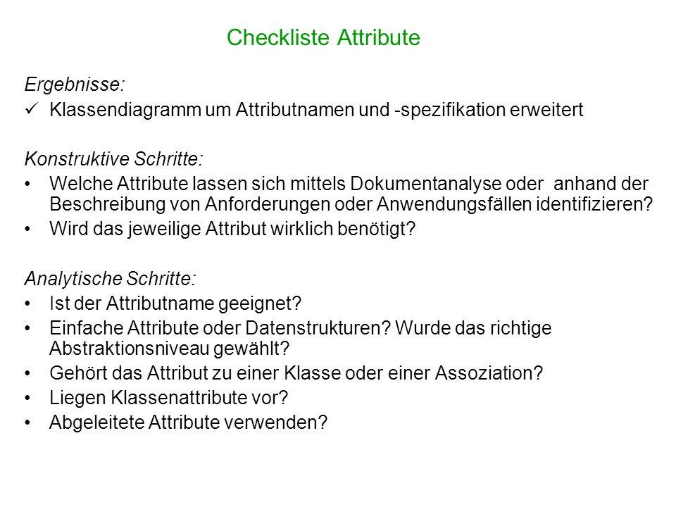 Checkliste Attribute Ergebnisse: Klassendiagramm um Attributnamen und -spezifikation erweitert Konstruktive Schritte: Welche Attribute lassen sich mit