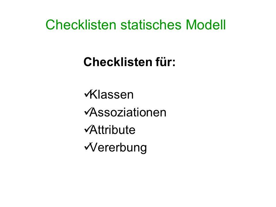Checklisten statisches Modell Checklisten für: Klassen Assoziationen Attribute Vererbung
