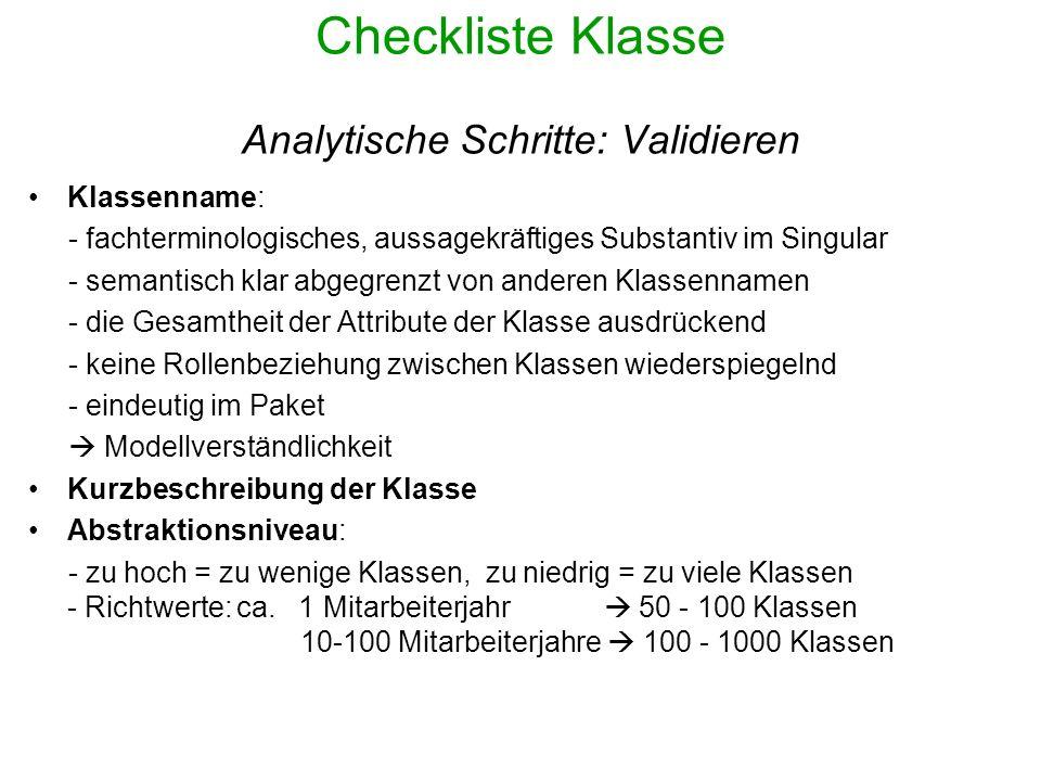 Checkliste Klasse Analytische Schritte: Validieren Objektverwaltung: keine Klassen modellieren, die Mengen von Objekten verwalten Modellverständlichkeit Fehlerquellen: - Zu wenig komplexe Attribute zu viele Klassen + Assoziationen - Jedes konkrete Objekt als Klasse modellieren - Klasse modelliert Entwurfs- und Implementierungsdetails