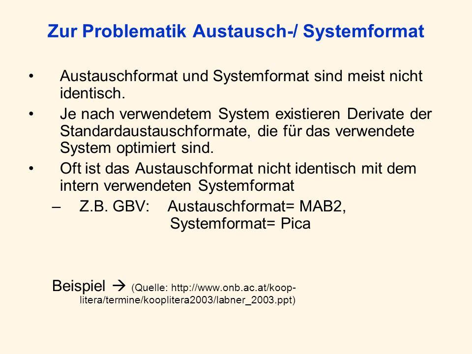 Zur Problematik Austausch-/ Systemformat Austauschformat und Systemformat sind meist nicht identisch. Je nach verwendetem System existieren Derivate d