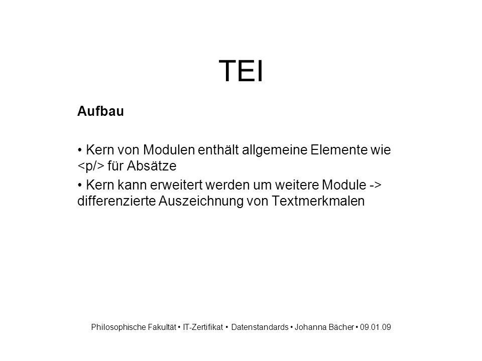 TEI TEI-Tag Sets - Beispiele für Additional Tag Sets TEI.linking -> Auszeichnungselemente, um Texte mit Hyperlinks zu verbinden und zu segmentieren TEI.textcrit ->...