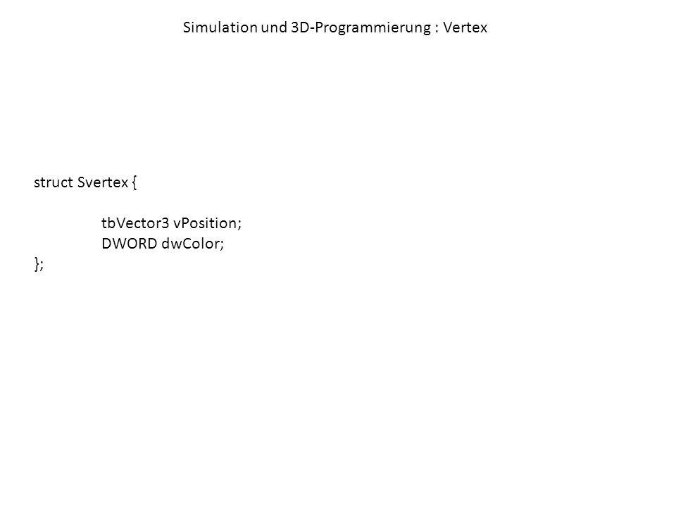 Simulation und 3D-Programmierung : Vertex- / Index-Buffer Bisher: Anlegen von Arrays aus Punkten in Systemspeicher einfach, aber langsam Vertex-Buffer:Speicher innerhalb der Grafikkarte, enthält … was ??.