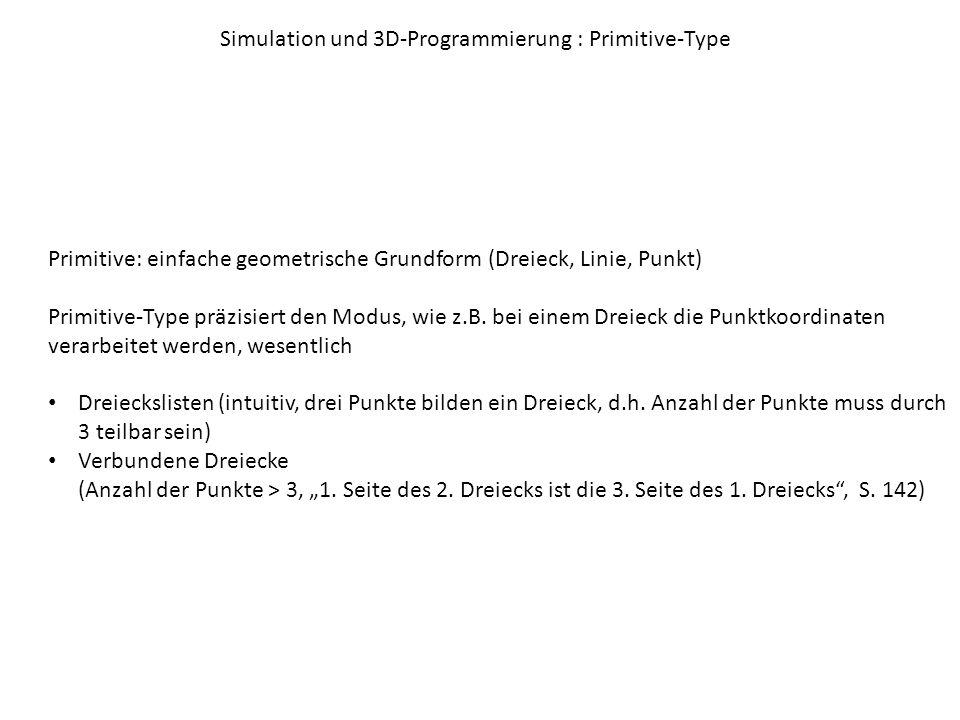 Simulation und 3D-Programmierung : Primitive-Type Primitive: einfache geometrische Grundform (Dreieck, Linie, Punkt) Primitive-Type präzisiert den Modus, wie z.B.