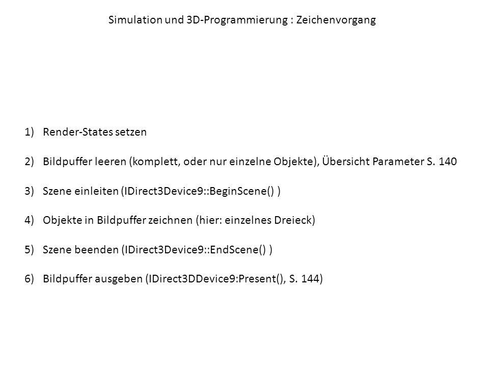 Simulation und 3D-Programmierung : Texturen Textur = Grafik, die definiert um ein dreidimensionales Objekt gewickelt wird Texel = Pixel einer Textur Schema (bei Dreieck): jedem Vertex wird ein Punkt der Textur zugeordnet, dadurch wird der passende Ausschnitt der Textur ohne Verzerrung über das Objekt gelegt (Textur-Koordinaten sind unabhängig von absoluter Auflösung, Größe eines Punktes wird berechnet ) Ursprung linke obere Ecke