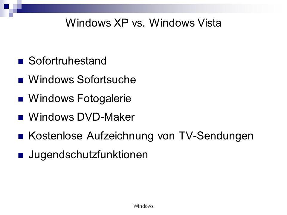 Windows Windows XP vs. Windows Vista Sofortruhestand Windows Sofortsuche Windows Fotogalerie Windows DVD-Maker Kostenlose Aufzeichnung von TV-Sendunge