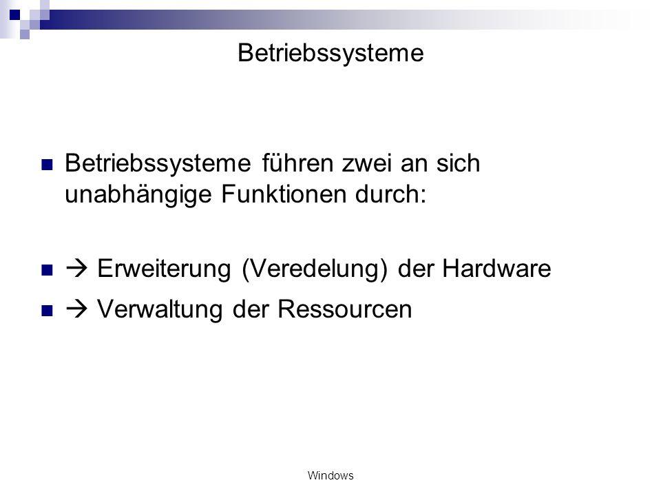 Windows Betriebssysteme Betriebssysteme führen zwei an sich unabhängige Funktionen durch: Erweiterung (Veredelung) der Hardware Verwaltung der Ressour