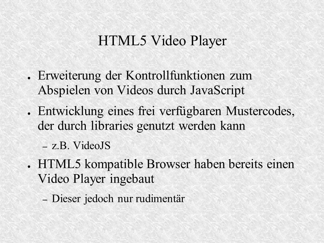 HTML5 Video Player Erweiterung der Kontrollfunktionen zum Abspielen von Videos durch JavaScript Entwicklung eines frei verfügbaren Mustercodes, der durch libraries genutzt werden kann – z.B.