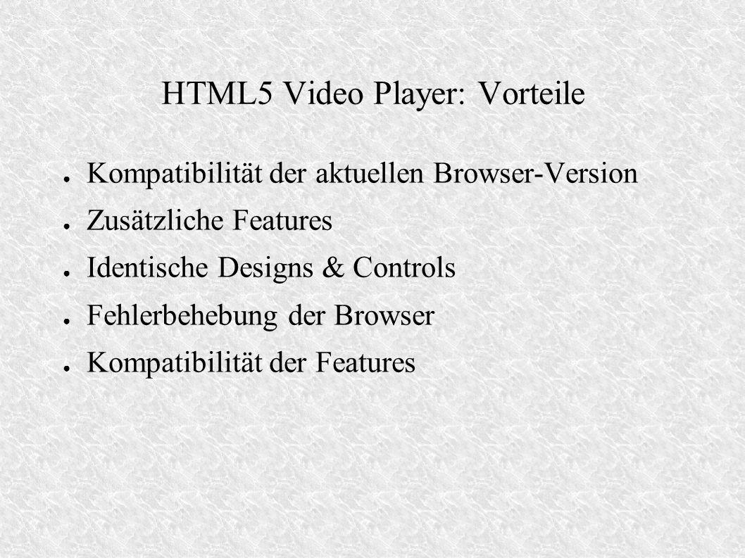 VideoJS Besteht aus 3 Komponenten: – Code zum Einbetten (reiner HTML-Code) z.B.