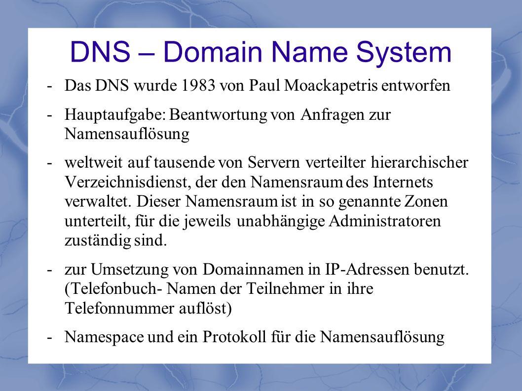 DNS – Domain Name System - Das DNS wurde 1983 von Paul Moackapetris entworfen - Hauptaufgabe: Beantwortung von Anfragen zur Namensauflösung - weltweit