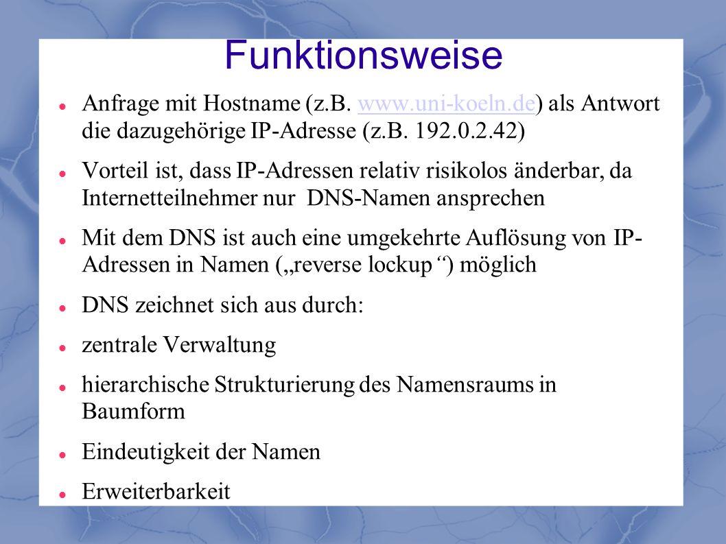 Funktionsweise Anfrage mit Hostname (z.B. www.uni-koeln.de) als Antwort die dazugehörige IP-Adresse (z.B. 192.0.2.42)www.uni-koeln.de Vorteil ist, das