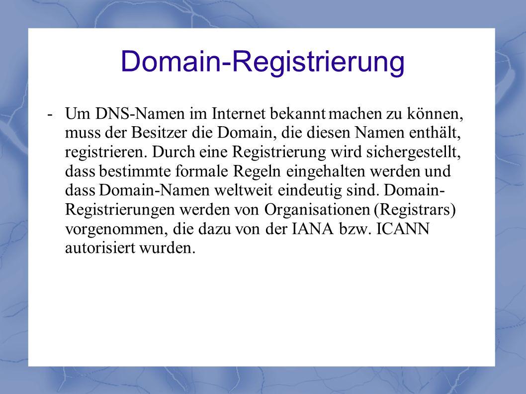 Domain-Registrierung - Um DNS-Namen im Internet bekannt machen zu können, muss der Besitzer die Domain, die diesen Namen enthält, registrieren. Durch