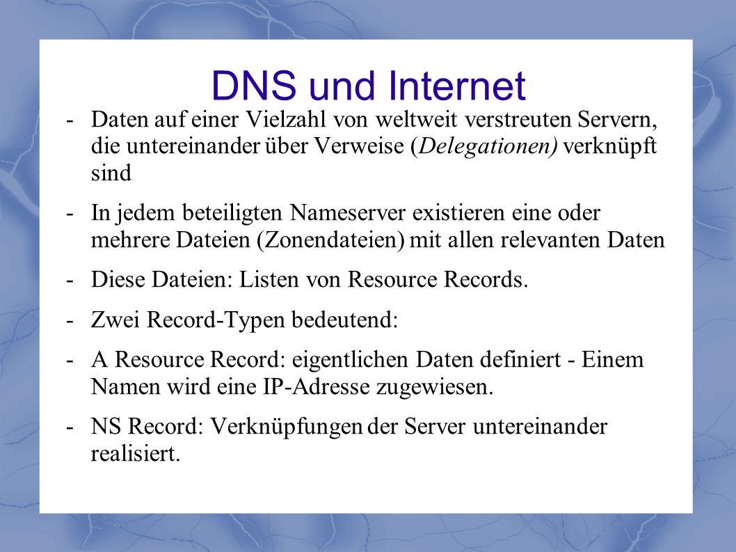 DNS und Internet - Daten auf einer Vielzahl von weltweit verstreuten Servern, die untereinander über Verweise (Delegationen) verknüpft sind - In jedem