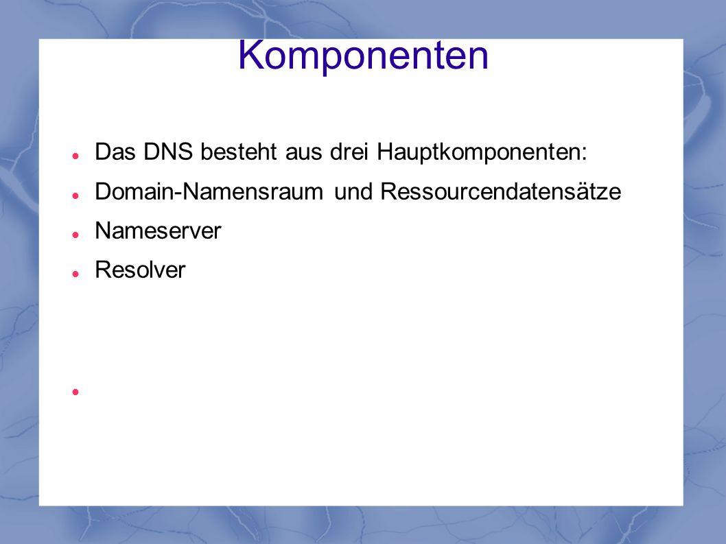 Komponenten Das DNS besteht aus drei Hauptkomponenten: Domain-Namensraum und Ressourcendatensätze Nameserver Resolver
