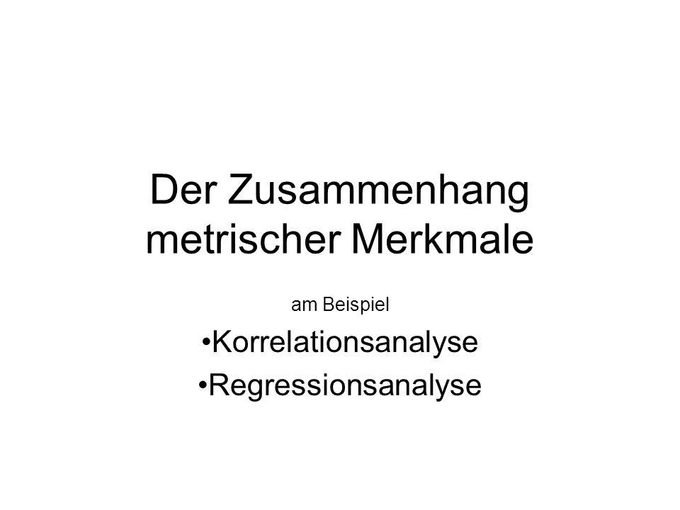 Korrelationsanalyse erlaubt die Aussage über die gemeinsame Variation zweier metrischer Merkmale dabei wird ein linearer Zusammenhang angenommen der Korrelationskoeffizient nimmt Werte zwischen -1 und +1 an negativ: sinkt das eine Merkmal steigt das andere positiv: steigt das eine steigt auch das andere null: kein linearer Zusammenhang Vorsicht vor Scheinkorrelationen