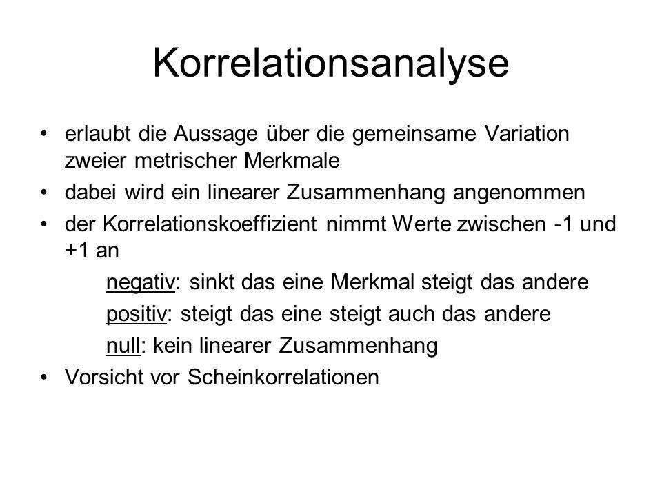 Korrelationsanalyse erlaubt die Aussage über die gemeinsame Variation zweier metrischer Merkmale dabei wird ein linearer Zusammenhang angenommen der K