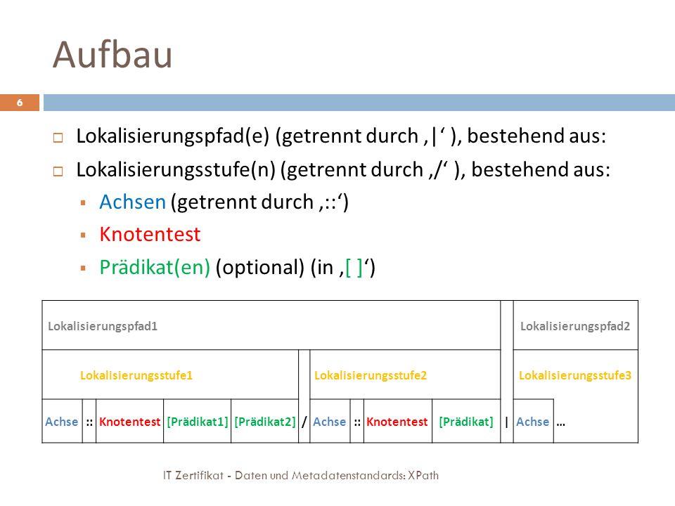 Aufbau IT Zertifikat - Daten und Metadatenstandards: XPath 6 Lokalisierungspfad(e) (getrennt durch | ), bestehend aus: Lokalisierungsstufe(n) (getrennt durch / ), bestehend aus: Achsen (getrennt durch ::) Knotentest Prädikat(en) (optional) (in [ ]) Lokalisierungspfad1 Lokalisierungspfad2 Lokalisierungsstufe1 Lokalisierungsstufe2 Lokalisierungsstufe3 Achse::Knotentest[Prädikat1][Prädikat2]/Achse::Knotentest[Prädikat]|Achse…